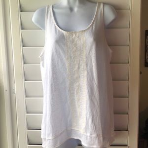 White Embroidered Tank Top by Merona